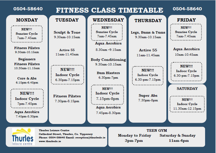 Thurles Leisure Centre  New Fitness Class Timetable