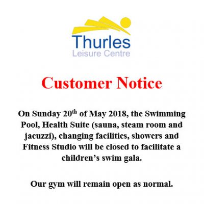 CUSTOMER NOTICE 20th MAY