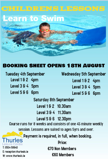 Childrens Swimming Lessons – Commencing in September